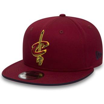 Boné plano vermelho snapback 9FIFTY Team da Cleveland Cavaliers NBA da New Era