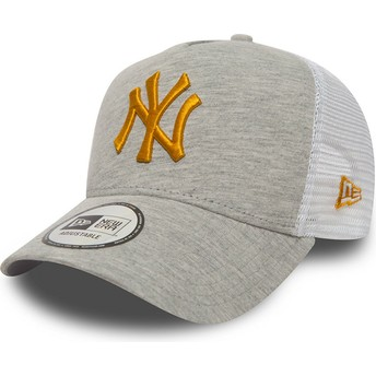 Boné trucker cinza com logo amarelo 9FORTY Essential Camisola da New York Yankees MLB da New Era