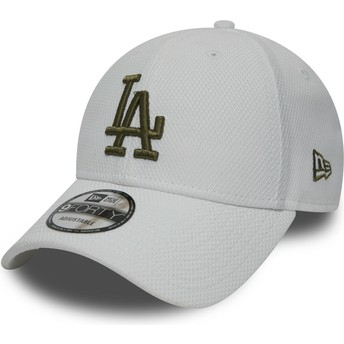 Boné curvo branco ajustável com logo verde 9FORTY Diamond Era da Los Angeles Dodgers MLB da New Era