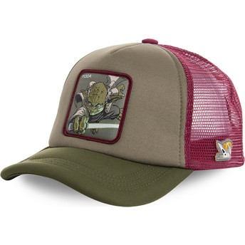 Boné trucker verde e vermelho Yoda YOD4M Star Wars da Capslab