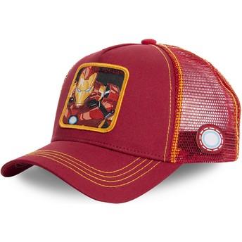 Boné trucker vermelho e amarelo Iron Man IRO1 Marvel Comics da Capslab