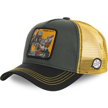 Boné trucker verde e amarelo Boba Fett BOB Star Wars da Capslab