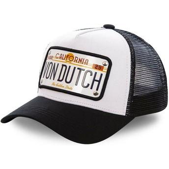 Boné trucker branco e preto com placa California CAL1 da Von Dutch