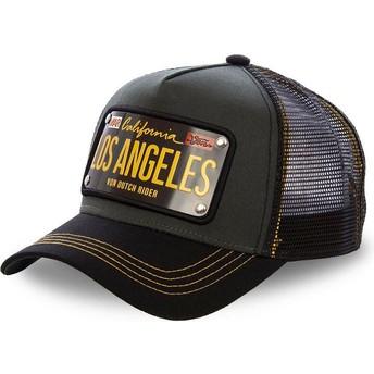 Boné trucker preto com placa Los Angeles LOS2 da Von Dutch