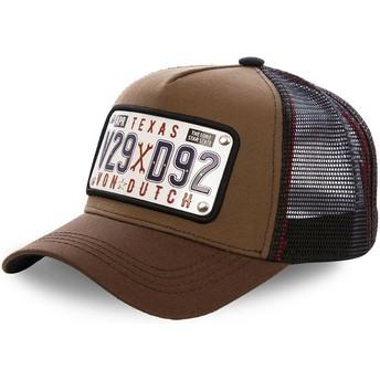 Boné trucker castanho com placa Texas TEX1 da Von Dutch