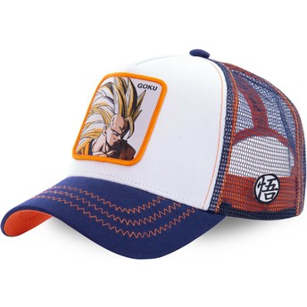 Boné trucker branco, azul e laranja Son Goku Super Saiyan 3 SAN2 Dragon Ball da Capslab