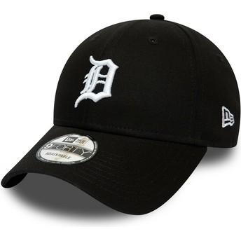 Boné curvo preto ajustável 9FORTY League Essential da Detroit Tigers MLB da New Era