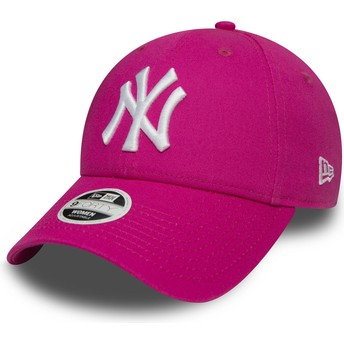 Boné curvo rosa ajustável 9FORTY Essential dos New York Yankees MLB da New Era