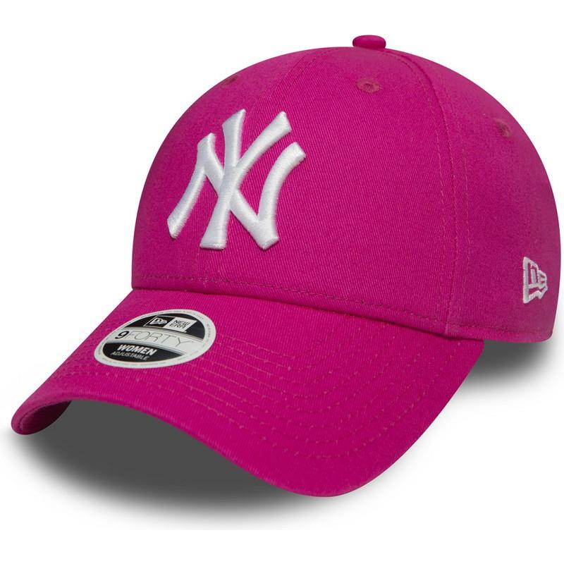 90af9e69d Boné curvo rosa ajustável 9FORTY Essential dos New York Yankees MLB ...