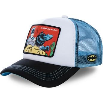Boné trucker branco e azul Batman & Robin MEM4 DC Comics da Capslab