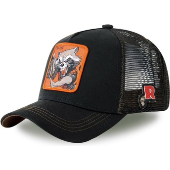 Boné trucker preto Rocket Raccoon ROC4 Marvel Comics da Capslab
