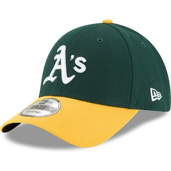 Boné curvo verde e amarelo ajustável 9FORTY The League da Oakland Athletics MLB da New Era