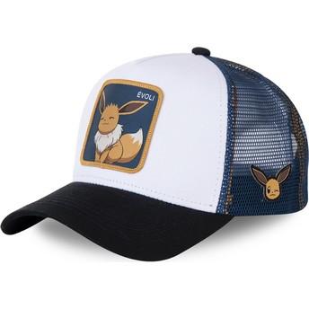 Boné trucker branco, azul e preto Eevee EVO3 Pokémon da Capslab