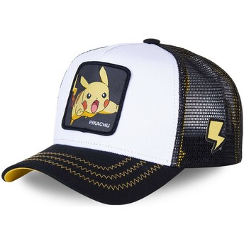 Boné trucker branco e preto Pikachu PIK5 Pokémon da Capslab