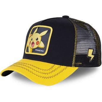 Boné trucker preto e amarelo Pikachu PIK6 Pokémon da Capslab