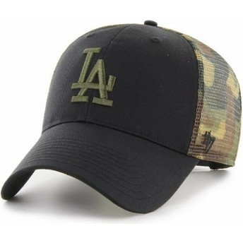 Boné trucker preto e camuflagem MVP Back Switch da Los Angeles Dodgers MLB da 47 Brand
