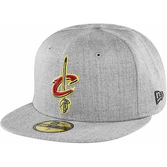 Boné plano cinza justo 59FIFTY Heather da Cleveland Cavaliers NBA da New Era