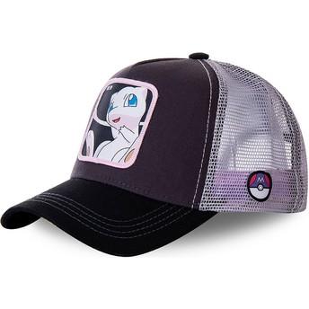Boné trucker preto e branco Mew MEW3 Pokémon da Capslab