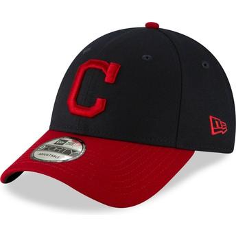 Boné curvo azul marinho e vermelho ajustável 9FORTY The League da Cleveland Indians MLB da New Era