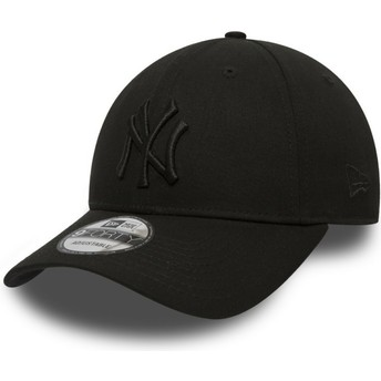 Boné curvo preto ajustável com logo preto 9FORTY League Essential da New York Yankees MLB da New Era