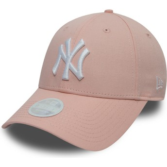 Boné curvo rosa ajustável 9FORTY League Essential da New York Yankees MLB da New Era