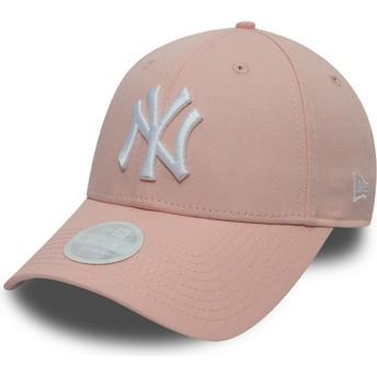 Boné curvo rosa ajustável 9FORTY League Essential da New York Yankees MLB da New Era