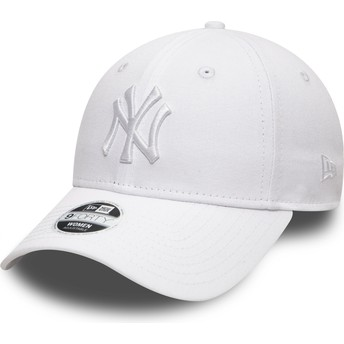 Boné curvo branco ajustável com logo branco 9FORTY League Essential da New York Yankees MLB da New Era