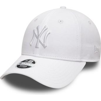 Boné curvo branco ajustável com logo branco 9FORTY League Essential da New York Yankees MLB da New Era