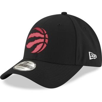 Boné curvo preto ajustável com logo vermelho 9FORTY The League da Toronto Raptors NBA da New Era