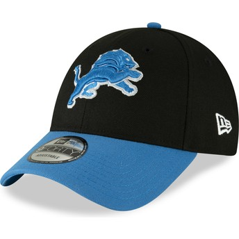 Boné curvo preto ajustável 9FORTY The League da Detroit Lions NFL da New Era
