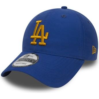 Boné curvo azul ajustável com logo dourado 9TWENTY Nylon Packable da Los Angeles Dodgers MLB da New Era