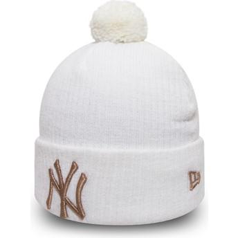 Gorro branco com pompom Cuff Knit Sport Waffle da New York Yankees MLB da New Era