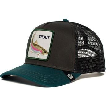 Boné trucker preto e verde truta Rainbow Trout da Goorin Bros.