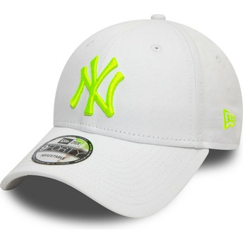 Boné curvo branco ajustável com logo verde 9FORTY League Essential Neon da New York Yankees MLB da New Era