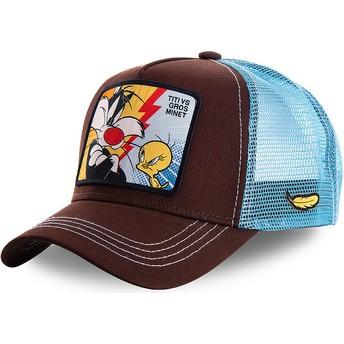 Boné trucker castanho e azul Sylvester Vs Piu-Piu TVG1 Looney Tunes da Capslab