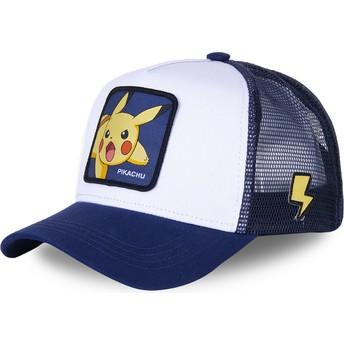 Boné trucker branco e azul Pikachu PIK8 Pokémon da Capslab