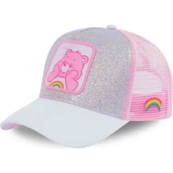 Boné trucker cinza e rosa purpurina Cheer Bear CAL Os Ursinhos Carinhosos da Capslab