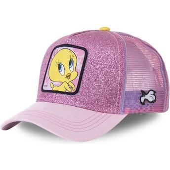 Boné trucker rosa purpurina Piu-Piu TWE4 Looney Tunes da Capslab