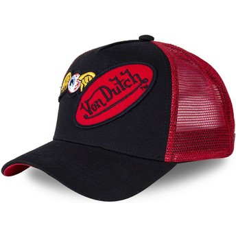 Boné trucker preto e vermelho DBLPAT da Von Dutch