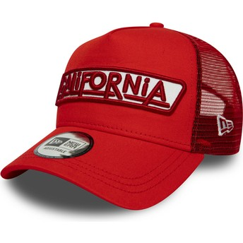 Boné trucker vermelho A Frame USA Patch California da New Era