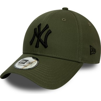 Boné curvo verde ajustável com logo preto 9FORTY League Essential da New York Yankees MLB da New Era