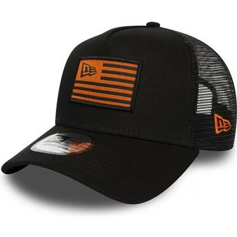 Boné trucker preto e laranja A Frame Flag da New Era