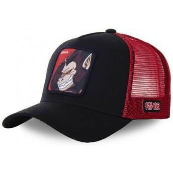 Boné trucker preto e vermelho Saiyan Great Ape SAI Dragon Ball da Capslab
