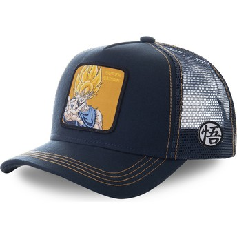 Boné trucker azul marinho Son Goku Super Saiyan SAY3 Dragon Ball da Capslab