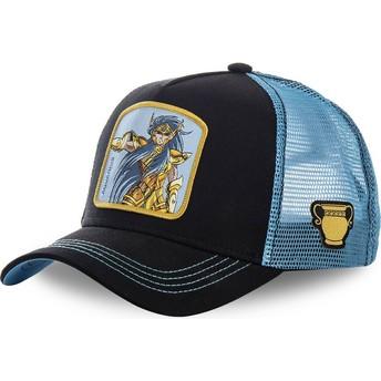 Boné trucker preto e azul Aquário AQU Saint Seiya: Os Cavaleiros do Zodíaco da Capslab