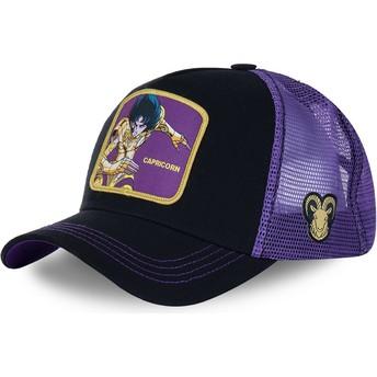 Boné trucker preto e violeta Capricórnio CAP Saint Seiya: Os Cavaleiros do Zodíaco da Capslab