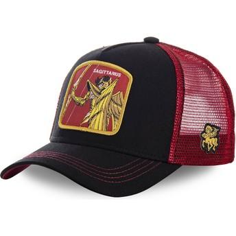 Boné trucker preto e vermelho Sagitário SAG Saint Seiya: Os Cavaleiros do Zodíaco da Capslab
