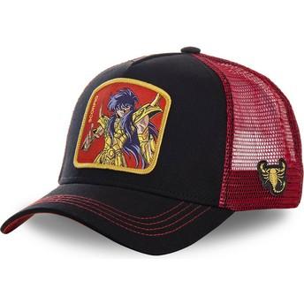 Boné trucker preto e vermelho Escorpião SCO Saint Seiya: Os Cavaleiros do Zodíaco da Capslab