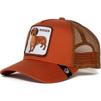 Boné trucker castanho cão teckel Weiner Dawg da Goorin Bros.