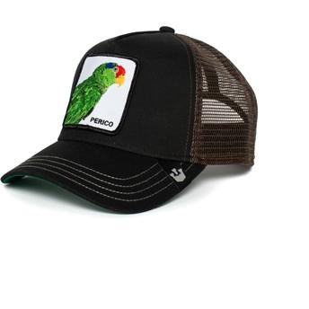 Boné trucker preto e castanho papagaio Perico da Goorin Bros.